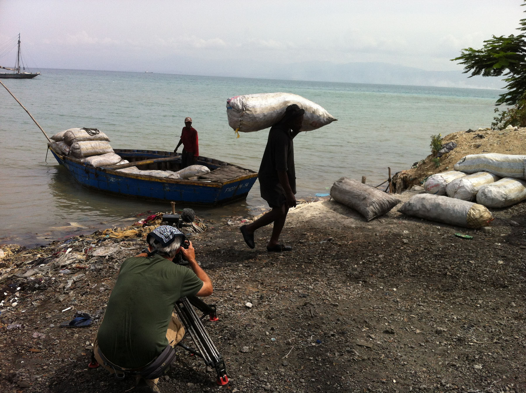 Charcoal port, Port au Prince, Haiti. Worker unloads sacks of charcoal.